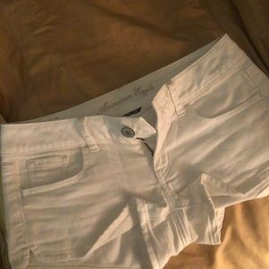 American Eagle White Denim Shorty Shorts